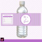 Printable Purple Stripes Lines Water Bottle Labels Wrappers Its a girl or Happy Birthday