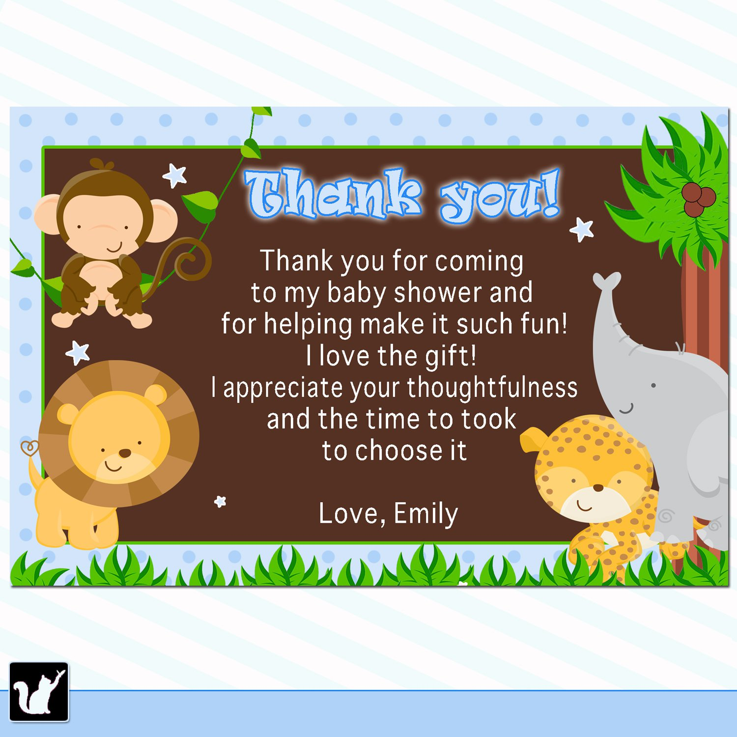 Sample Thank You Notes For Baby Shower Gifts: Printable Thank You Cards Jungle Safari Blue Polka Dots