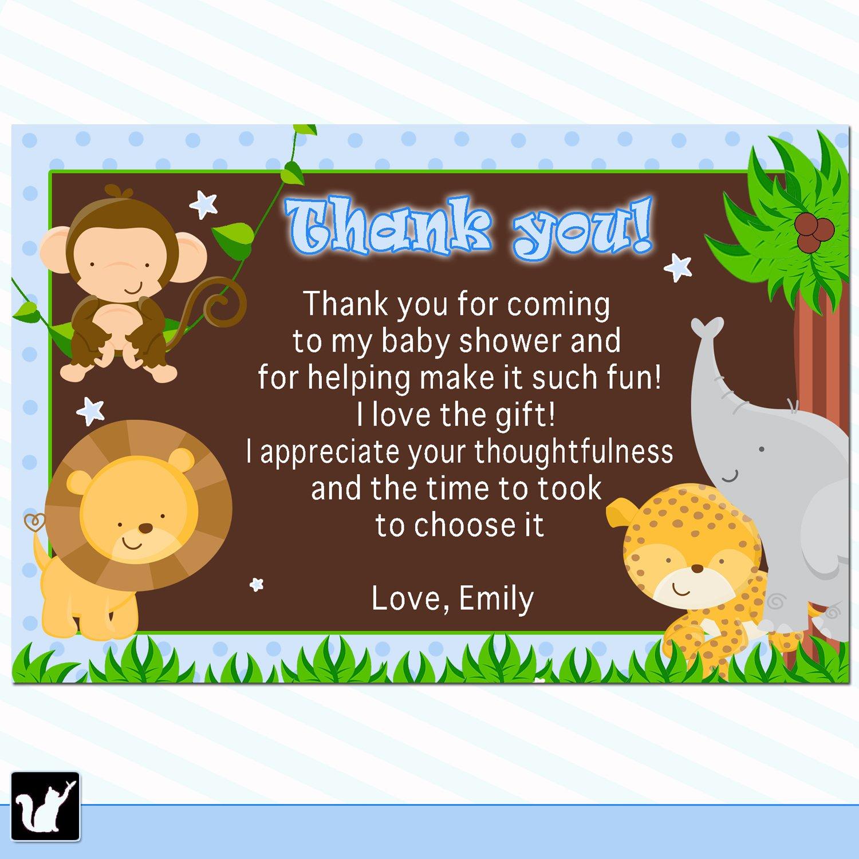 Printable Thank You Cards Jungle Safari Blue Polka Dots
