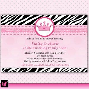 30 Pink Zerba Princess Crown Invitations Birthday Party Baby Shower