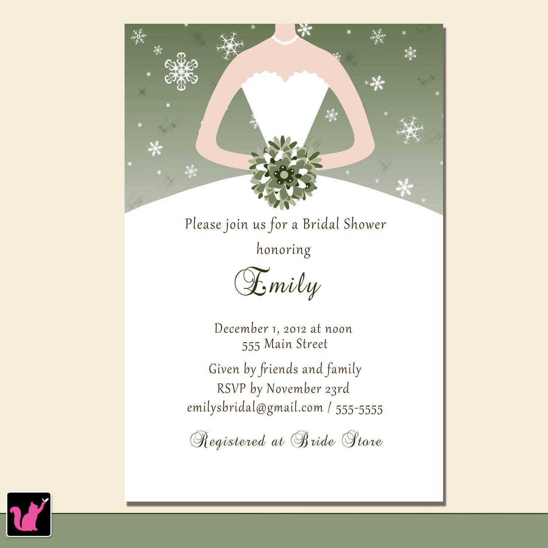 Printable Bridal Shower Winter Wonderland Invitations