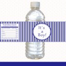 Printable Navy Blue Stripes Lines Water Bottle Labels Wrappers Its a girl or Happy Birthday