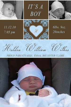Cute! 30 Printed Baby Birth Announcement Photo Cards Girl Boy - Blue