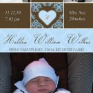 Printable New Baby Birth Announcement Photo Card Damask Boy Blue