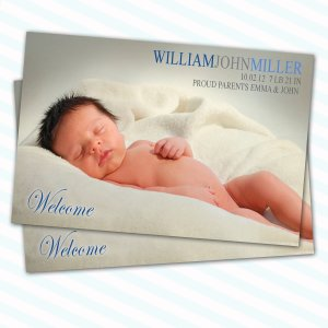 Gorgeous 30 Printed Baby Birth Announcement Photo Cards Boy - Blue