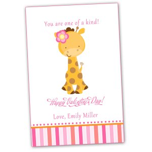 30 Personalized Valentines Cards Giraffe Pink