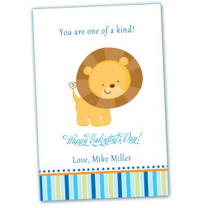 Printable Personalized Valentines Love Day Card Lion Blue