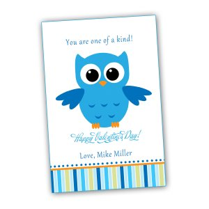 Printable Personalized Valentines Love Day Card Owl Blue