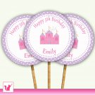 Printable Personalized Princess Castle Cupcake Topper