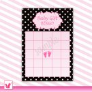 Printable Cute Pink Baby Gift Bingo Card
