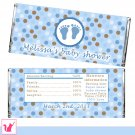 30 Baby Feet Polka Dots Candy Bar Wrappers - Baby Shower