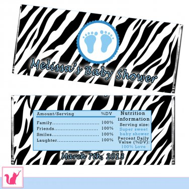 Printable Personalized Zebra Candy Bar Wrapper - Baby Shower
