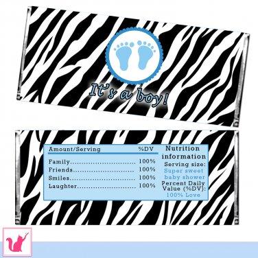 Printable Zebra It's a Boy Candy Bar Wrapper - Baby Shower