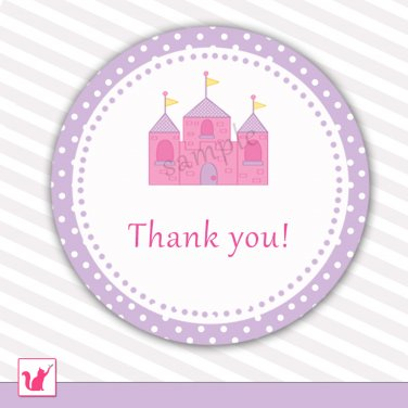 Printable Pink Castle Thank You Tags - Baby Shower Birthday