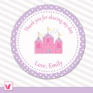40 Personalized Pink Castle Thank You Tags - Baby Shower Birthday