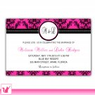 30 Personalized Damask Hot Pink Bridal Shower Wedding Engagement Anniversary Invitation