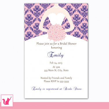 30 Personalized Damask Navy Blue Pink Bridal Shower Invitations