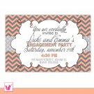 Printable Personalized Chevron Bridal Shower Wedding Engagement Rehearsal Dinner Invitation