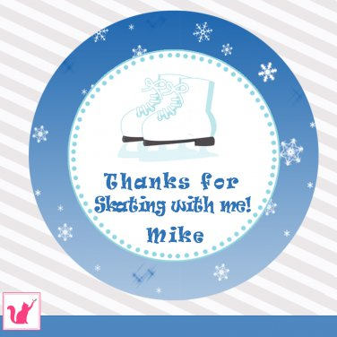 Printable Personalized Ice Skate Thank You Tags - Birthday Boy