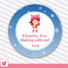40 Personalized Ice Skating Girl Thank You Tags - Birthday Girl
