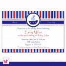 Printable Personalized Adorable Nautical Adventure Baby Shower Birthday Invitation
