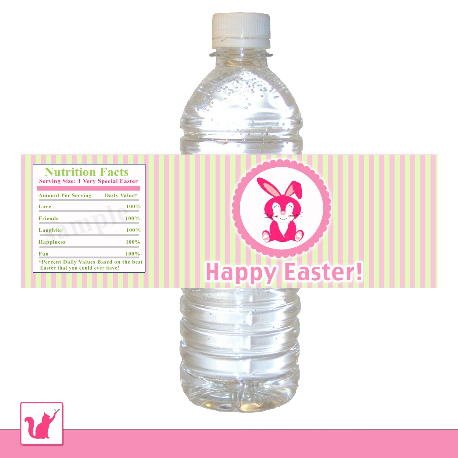 Printable Personalized Cute Hot Pink Baby Bunny Happy Easter Water Bottle Label Wrappers