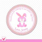 Printable Personalized Easter Bunny Thank You Tag - Easter Egg Hunt Circle Stickers