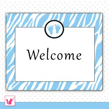 Printable Personalizable Cute Jungle Baby Feet Blue Welcome Sign - Birthday Party Baby Shower