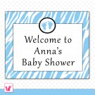Printable Personalizable Cute Jungle Baby Feet Blue Welcome Sign 2 - Birthday Party Baby Shower
