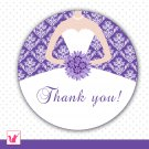 Printable Personalized Damask Purple Thank You Tags - Bridal Shower