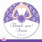 Printable Personalized Damask Purple Thank You Tags 2 - Bridal Shower