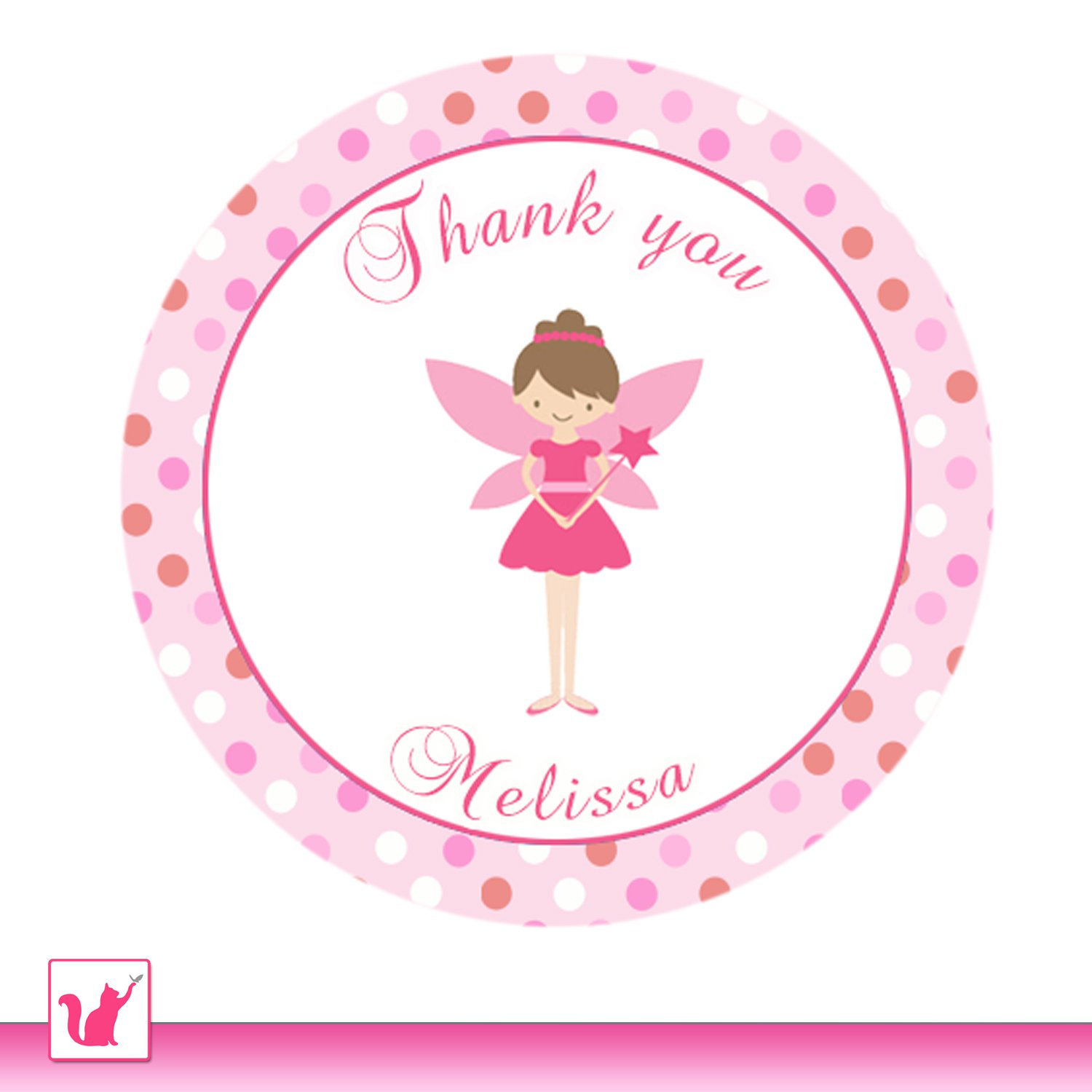 Printable Personalized Cute Pink Fairy Thank You Tags