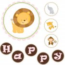 'Happy Birthday' or 'It's a Girl' Printable Jungle Banner - Baby Shower Birthday Party Pink