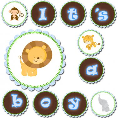 Hand Made Personalized Jungle Blue Banner - Baby Shower Birthday Customized For Any Occassion