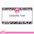 Printable Editable Blank Zebra Hot Pink Baby Feet Address Label