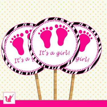 Printable Cute Zebra Hot Pink Baby Feet Cupcake Topper - Baby Shower Party