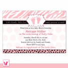 Printable Personalized Zebra Leopard Pink Polka Dots Baby Shower Invitation