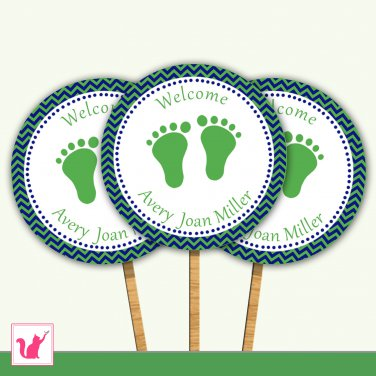 Printable Personalized Chevron Kelly Green Navy Blue Baby Feet Cupcake Topper - Baby Shower Party
