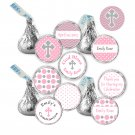 Hershey Kiss stickers - Printable Personalized Pink Chevron Polka Dots Christening Occasion Labels