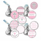 216 Hershey Kiss stickers - Personalized Pink Chevron Polka Dots Christening Occasion Labels