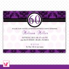 30 Personalized Damask Purple Birthday Anniversary Party Invitation