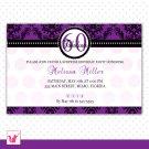 30 Personalized Damask Purple Birthday Anniversary Party Invitation