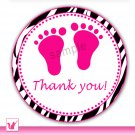 Printable Zebra Hot Pink Baby Feet Thank You Tags - Baby Shower Party