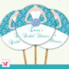 20 Personalized Bridal Shower Damask Teal Lavender Cupcake Topper