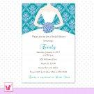 Printable Personalized Damask Teal Lavender Bridal Shower Invitations
