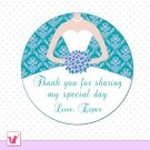 40 Personalized Damask Teal Lavender Thank You Tags - Bridal Shower