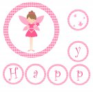 'Happy Birthday' or 'Its a Girl' Printable Fairy Banner - Baby Shower Birthday Any Occassion