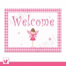 Printable Personalizable Pink Fairy Polka Dots Welcome Sign - Birthday Baby Shower Any Occassion