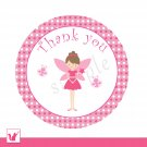 Printable Cute Pink Fairy Thank You Tags 2 - Birthday Party