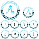 'Happy Birthday' or 'Its a Boy' Printable Blue Giraffe Banner - Baby Shower Birthday Any Occassion